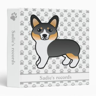 Tricolor Coat Pembroke Welsh Corgi Dog Pet Records Binder