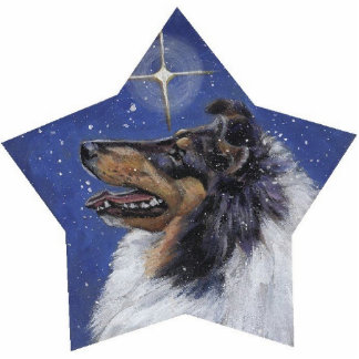 Tricolor Collie Christmas Pin Cutout