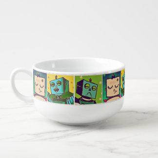 Tricolor Comic Style Robot Soup Mug