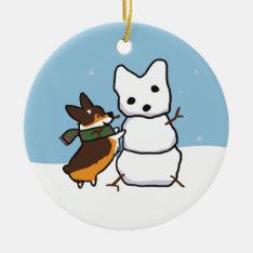 Tricolor Corgi Snowman Ornament | Corgithings at Zazzle