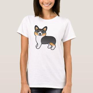 Tricolor Cute Cartoon Pembroke Welsh Corgi Dog T-Shirt