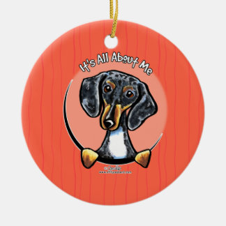 Tricolor Dapple Dachshund IAAM Ceramic Ornament