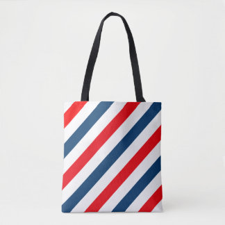 Tricolor Diagonal Lines (blue, white, red) Tote Bag