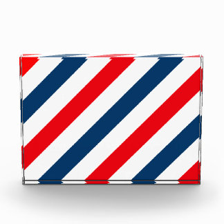 Tricolor Diagonal Stripes(blue, white, and red) Acrylic Award