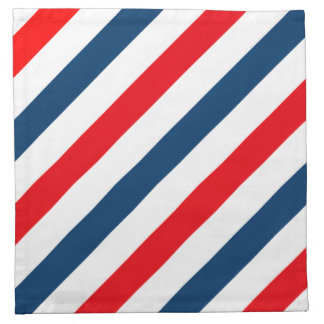 Tricolor Diagonal Stripes(blue, white, and red) Cloth Napkin
