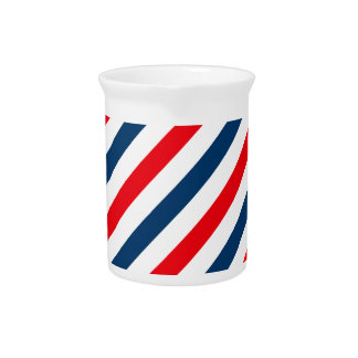 Tricolor Diagonal Stripes(blue, white, and red) Drink Pitchers