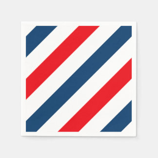 Tricolor Diagonal Stripes(blue, white, and red) Paper Napkin