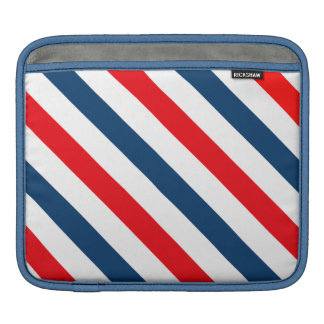 Tricolor Diagonal Stripes(blue, white, and red) Sleeve For iPads