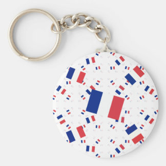 Tricolor France Flag in Multiple Layers Askew Keychain