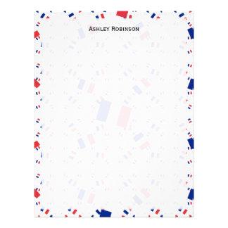 Tricolor France Flag in Multiple Layers Askew Letterhead Design