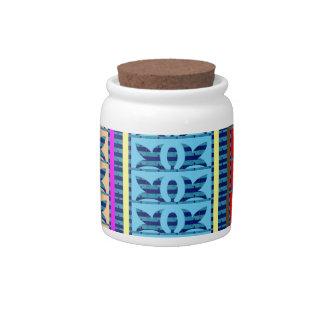 Tricolor Geometrical Line Art Gifts Jewel Pattern Candy Jar