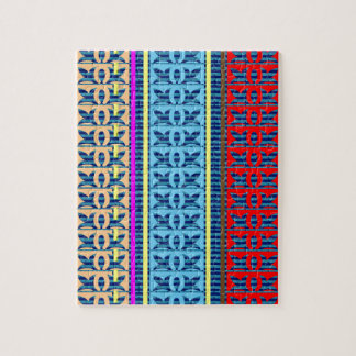 Tricolor Geometrical Line Art Gifts Jewel Pattern Jigsaw Puzzle