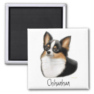 Tricolor Longhair Chihuahua Magnet