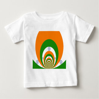 Tricolor of  a very deep saffron, white GREEN Baby T-Shirt