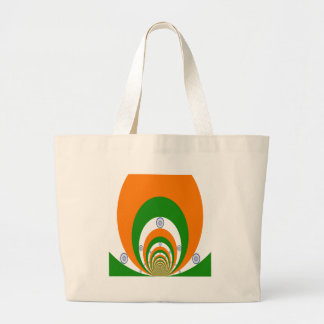 Tricolor of  a very deep saffron, white GREEN Large Tote Bag