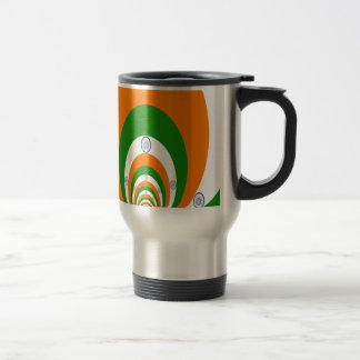 Tricolor of  a very deep saffron, white GREEN 15 Oz Stainless Steel Travel Mug