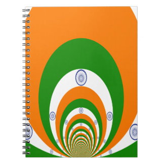 Tricolor of  a very deep saffron, white GREEN Notebook