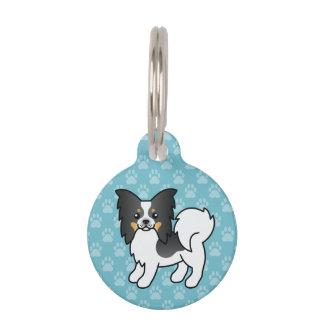 Tricolor Papillon Breed Cartoon Dog Pet ID Tag