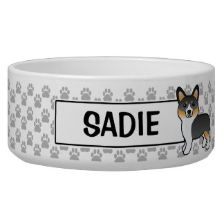 Tricolor Pembroke Welsh Corgi And Dog's Name Bowl