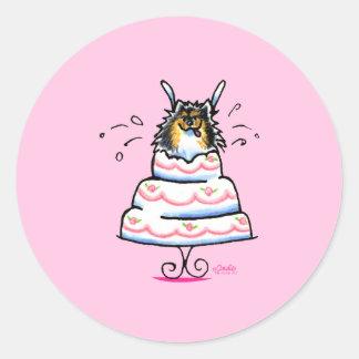 Tricolor Pomeranian Cake Trick Classic Round Sticker