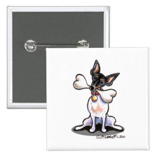 Tricolor Rat Terrier Big Bone Pinback Button