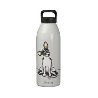 Tricolor Rat Terrier Sit Pretty Drinking Bottles
