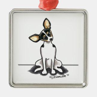 Tricolor Rat Terrier Sit Pretty Metal Ornament