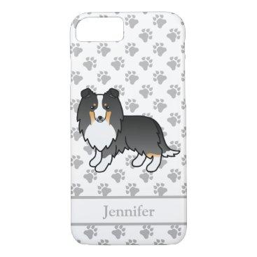 Tricolor Shetland Sheepdog Cartoon Dog & Name iPhone 8/7 Case