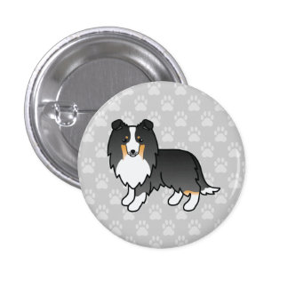 Tricolor Shetland Sheepdog Illustration On Grey Button