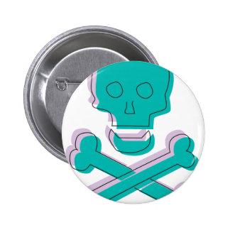 Tricolor Skull Pinback Button