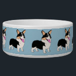 "Tricolor Welsh Corgi Cartoon Bowl<br><div class=""desc"">Pamper you pup with this Tricolor Welsh Corgi Cartoon Large Pet Bowl designed by www.zazzle.com/CorgiGifts.</div>"