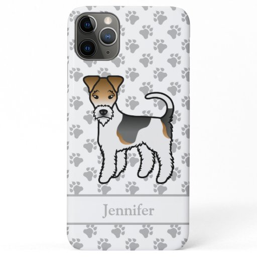 Tricolor Wire Fox Terrier Cute Cartoon Dog & Name iPhone 11 Pro Max Case
