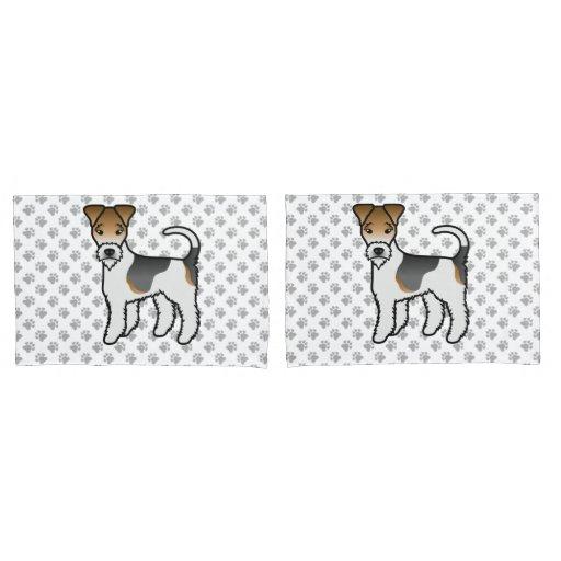 Tricolor Wire Fox Terrier Cute Cartoon Dog Pillow Case