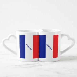 Tricolore del francés de la bandera de Francia Tazas Para Enamorados