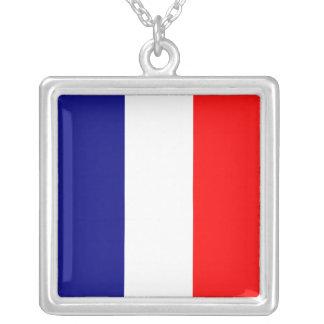 Tricolore Français Square Pendant Necklace