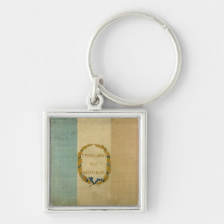 Tricolore with the motto 'Live Free or Die' Silver-Colored Square Keychain