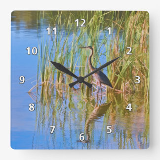 Tricolored Heron in Marsh Square Wall Clock