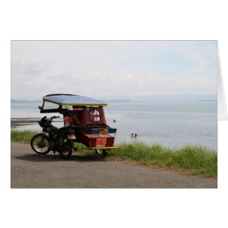 Tricycle at the San Pedro Bay Card