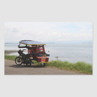 Tricycle at the San Pedro Bay Rectangular Sticker