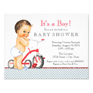 Tricycle Boy Baby Shower Card