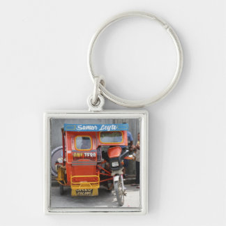 Tricycle Silver-Colored Square Keychain