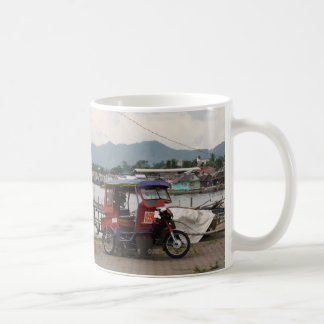 Tricycle on a quay coffee mugs