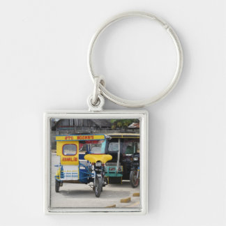 Tricycles Silver-Colored Square Keychain