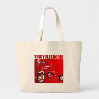 Tricycles Rock! Large Tote Bag