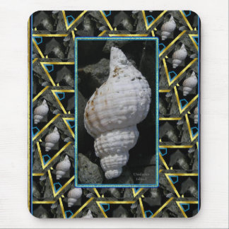 Tridents Trumpet Geometric Seashell Collage Mouse Pad