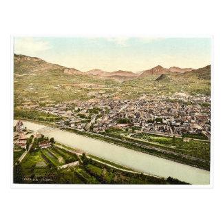 Trient, visión general desde S.W., el Tyrol, Austr Postal