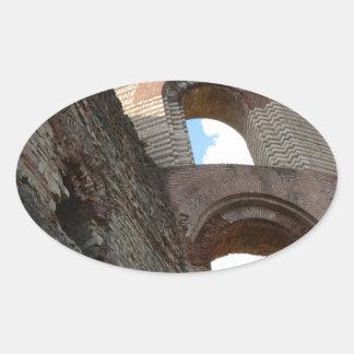 Trier imperial romano de los baños pegatina ovalada