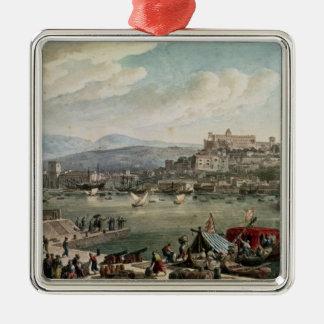 Trieste Harbour, 1802 Square Metal Christmas Ornament