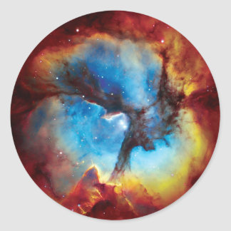 Trifid Nebula Colorful Hubble Outer Space Photo Classic Round Sticker