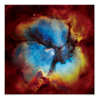 Trifid Nebula Colorful Hubble Outer Space Photo Poster